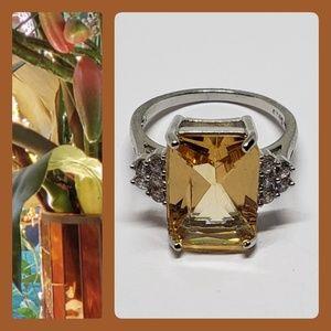 Morganite Sterling Silver w Diamond CZ Accent Ring
